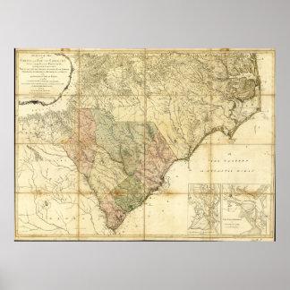 North & South Carolina Map (1775) Poster