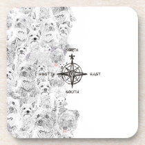 North South East & Westie Dog Beverage Coaster