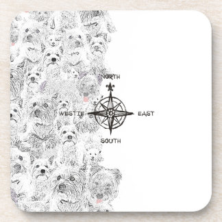 North South East & Westie Dog Beverage Coaster