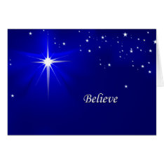 North Star Believe Christian Christmas Greeting Card at Zazzle