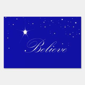 North Star Believe Christian Christmas Yard Sign