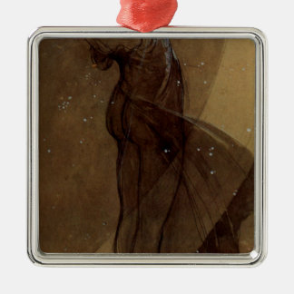 North Star by Alphonse Mucha Square Metal Christmas Ornament