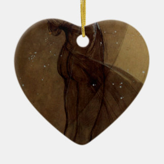 North Star by Alphonse Mucha Double-Sided Heart Ceramic Christmas Ornament