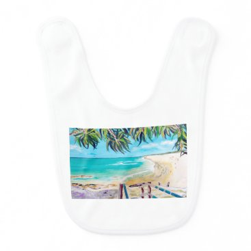 Beach Themed North Stradbroke Island Baby Bib