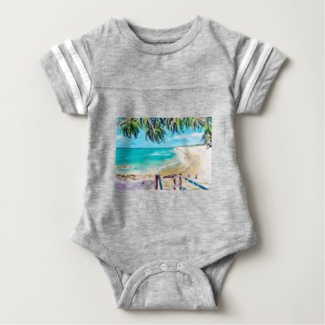 Beach Themed North Stradbroke Island Baby Bodysuit