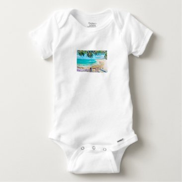 Beach Themed North Stradbroke Island Baby Onesie