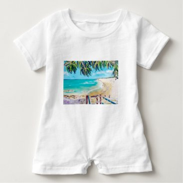Beach Themed North Stradbroke Island Baby Romper