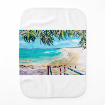 Beach Themed North Stradbroke Island Burp Cloth