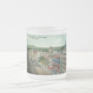 North Street, Pittsfield 1912 Vintage Frosted Glass Coffee Mug
