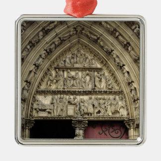 North transept portal, detail of tympanum christmas tree ornament