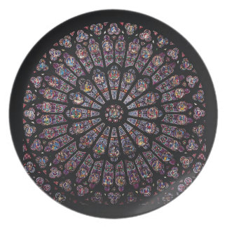 North transept rose window depicting the Virgin an Plate