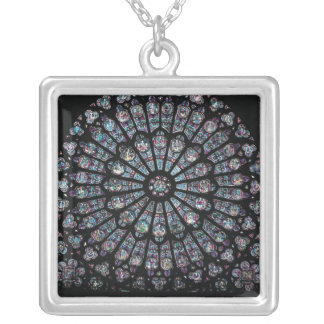 North transept rose window silver plated necklace