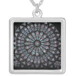 North transept rose window square pendant necklace