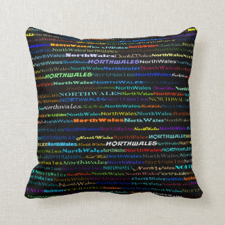 North Wales Text Design I Throw Pillow