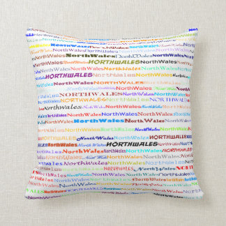 North Wales Text Design II Throw Pillow