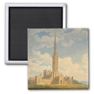 North-west view of Fonthill Abbey (w/c on paper) 2 Inch Square Magnet