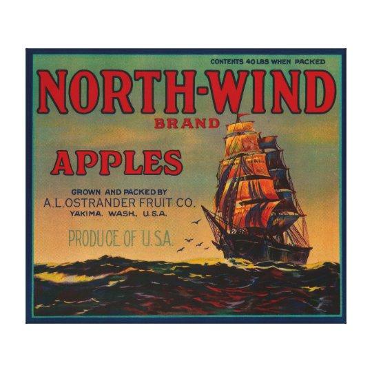 North Wind Apple Crate LabelYakima, WA Canvas Print