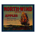 North Wind Apple Crate LabelYakima, WA Poster