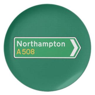 Northampton señal de tráfico BRITÁNICA Plato Para Fiesta