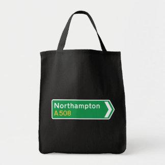 Northampton, UK Road Sign Canvas Bags