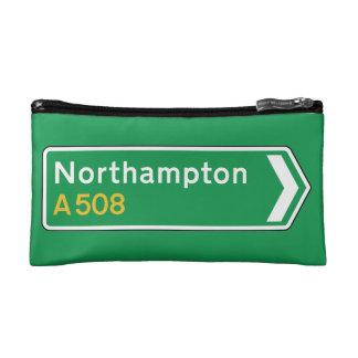 Northampton, UK Road Sign Cosmetic Bags