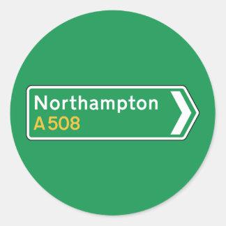 Northampton, UK Road Sign Classic Round Sticker