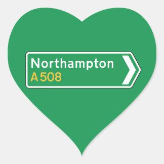 Northampton, UK Road Sign Heart Sticker