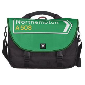 Northampton, UK Road Sign Laptop Computer Bag