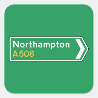 Northampton, UK Road Sign Square Sticker