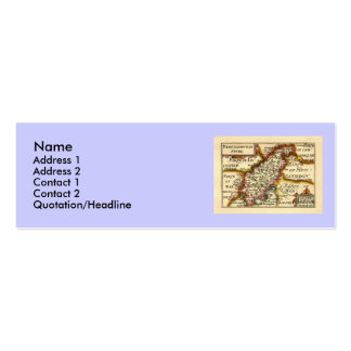 Northamptonshire County Map, England Double-Sided Mini Business Cards (Pack Of 20)