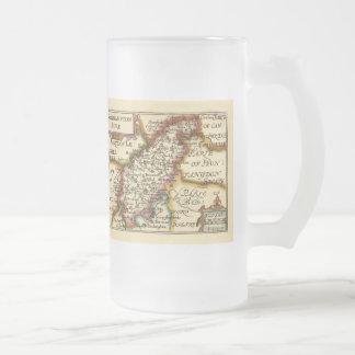 Northamptonshire County Map, England Frosted Glass Beer Mug
