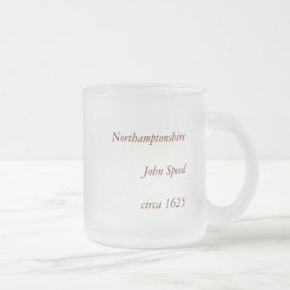 Northamptonshire County Map, England Frosted Glass Coffee Mug