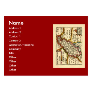 Northamptonshire County Map, England Large Business Card