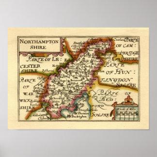 Northamptonshire County Map, England Poster