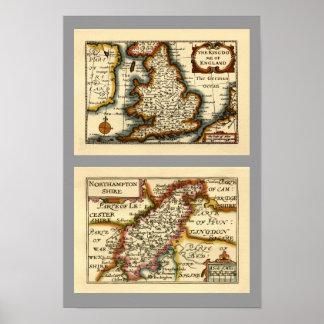 Northamptonshire County Map, England Posters
