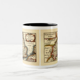 Northamptonshire County Map, England Two-Tone Coffee Mug