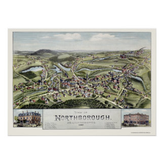 Northborough, MA Panoramic Map - 1887 Poster