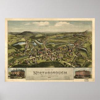 Northborough Mass. 1887 Antique Panoramic Map Poster