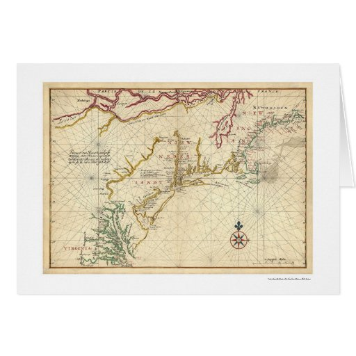Northeast Coast USA Map 1639 Greeting Cards