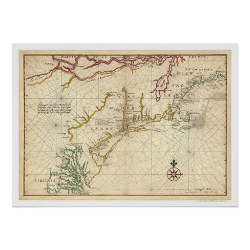 Northeast Coast USA Map 1639 Posters