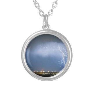 Northeast Colorado Lightning Strike and City Light Round Pendant Necklace