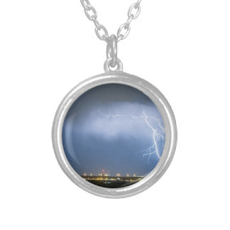 Northeast Colorado Lightning Strike and City Light Silver Plated Necklace