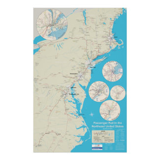 Northeast Rail Map version 2.1 - Dec 29, 2014 Poster