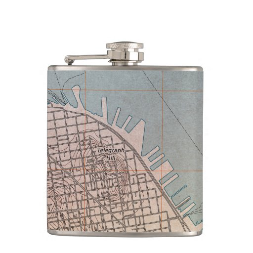 Northeast San Francisco Topographic Map Hip Flasks