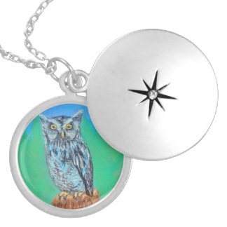 Northeast Screech Owl Perched on a Tree Stump Round Locket Necklace