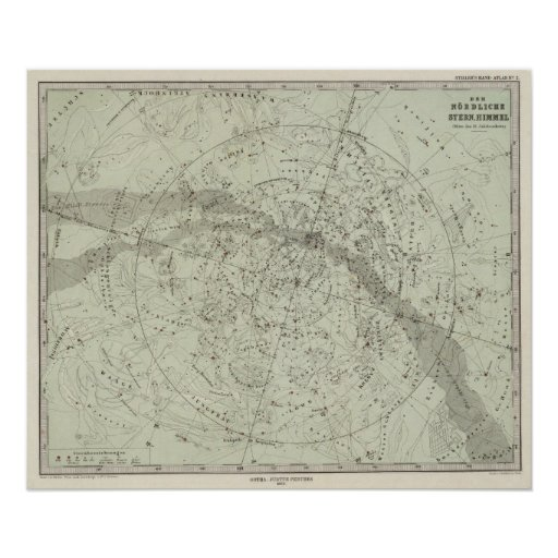 Norther Night Sky map Poster