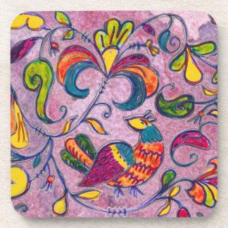 Northern Birds on pink background Beverage Coaster