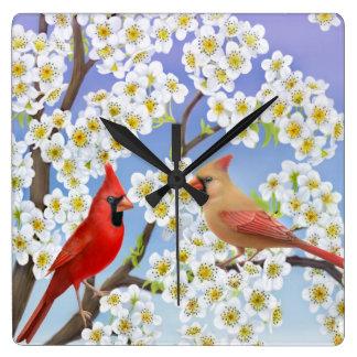 Northern Cardinal Birds Wall Clock