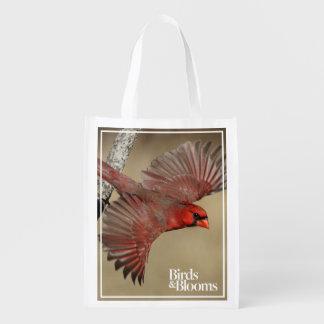 Northern Cardinal In Flight Reusable Grocery Bag