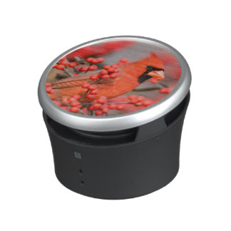 Northern Cardinal male on Common Winterberry Bluetooth Speaker
